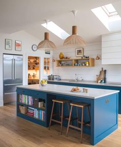 A classic blue shaker kitchen with walk-in pantry and large island in an open plan kitchen living dining. Open Plan Kitchen Dining Living, Living Room Kitchen, Home Decor Kitchen, Kitchen Interior, Kitchen Design, Kitchen Ideas, Kitchen Inspiration, Kitchen Furniture, Open Kitchen Layouts