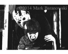 """""""Jason and Tommy"""" - from Friday the 13th: The Final Chapter Drawing by Mark Baranowski / CreateToLive.com  #horror #film #art #charcoal #F13 #Friday13 #FridayThe13th"""