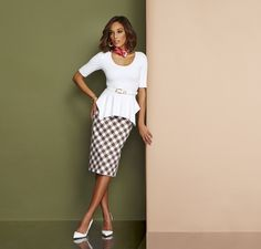 The 7th Avenue Gingham Pencil Skirt worn with The Peplum Sharkbite Pullover Sweater.