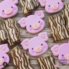 Pigs and bacon cookies Bacon Cookies, No Bake Sugar Cookies, Pig Cookies, Galletas Cookies, Fancy Cookies, Iced Cookies, Cut Out Cookies, Cute Cookies, Royal Icing Cookies