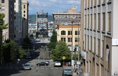 View of the East 11th Street Bridge from downtown Tacoma. An innovative program in the city pairs housing services with education.