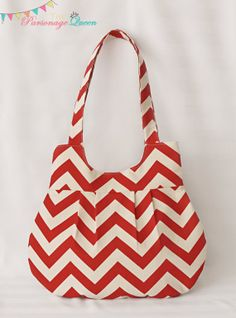 Red and Cream Chevron Handmade Purse or by TheParsonageQueen, $35.00