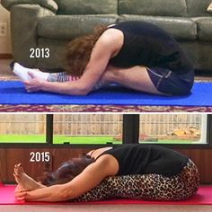 I looooove progress pics! This pic shows two years worth of progress with my seated #ForwardFold ... loving the flat back. ❤️ #Yoga #YogaGirl #YogaPose