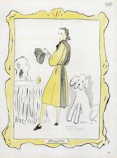 Bruyère 1945 Fashion Illustration, Poodle Dog, Maurice Van Moppès