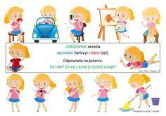 BLOG EDUKACYJNY DLA DZIECI: CZASOWNIKI Teacher Morale, Family Guy, Guys, Fictional Characters, A4, Blog, Speech Language Therapy, Literature, Fantasy Characters