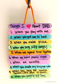 Father's Day Gift Idea: Top 10 Things I Love About Dad perfect fathers day gift, fathers diy gifts, kids fathers day gifts Diy Father's Day Crafts, Father's Day Diy, Craft Stick Crafts, Craft Gifts, Dad Crafts, Family Crafts, Plate Crafts, Spring Crafts, Food Gifts