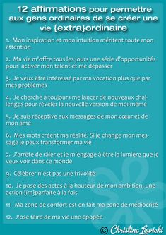 12 Affirmations pour se créer une VIE {EXTRA}ORDINAIRE Positive Mind, Positive Attitude, Positive Vibes, Positive Quotes, Essay On Education, Miracle Morning, Mental Strength, I Can Do It, Psychology Facts