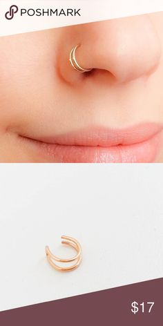 saleFake Nose Ring Double Clip On Cuff A super trendy double Hoop fake/faux nose ring made of your choice of either 925 sterling silver. 14k rose or yellow gold filled. To wear simply slide onto the nose then squeeze gently until Ring feels comfy. Made a standard 18 gauge, 8 mm nejd Jewelry