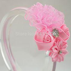 Para Trail chica flor del cordón encantador de cinta de raso flor de rose con botón del rhinestone hairband accesorio del pelo 3 unids/lote