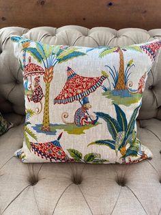 Linen Monkey Print Cushion - Small — Bone Interiors Interior Detailing, Printed Cushions, Monkey, Exotic, Interiors, Throw Pillows, Fabric, Decor, Tejido