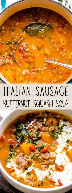 A full-flavored, richly textured meal, this Italian Sausage Butternut Squash Soup has it all: spicy and bold Italian sausage, tender white beans, tangy diced tomatoes, and a base of pureed butternut squash. So, SO good! #italiansausage #sausage #butternutsquash #souprecipes