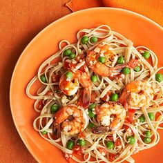 Whole Wheat Fettuccine with Shrimp and Peas from Fitness Mag!