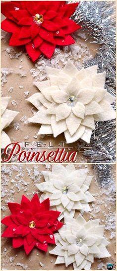DIY Felt Poinsettia Ornament Instructions - DIY Felt Christmas Ornament Craft Projects [Picture Instructions]
