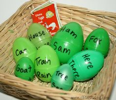 green eggs rhyming or synonyms/antonyms.for dr seuss week.need to get lots of green eggs this easter Rhyming Activities, Book Activities, Children Activities, Dr. Suess, Dr Seuss Week, Montessori, Green Eggs And Ham, Kindergarten Literacy, Emergent Literacy