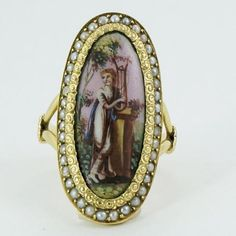 Yellow Gold Early Victorian Painted Porcelin Ring Picturing Terpsichore | Gilt Jewelry