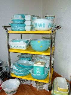 "The Turquoise Corner Pyrex. Could I have the Atomic ""Eyes"" Promotional Chip and Dip Set in the back!!! PLEASE!!! Love!!"