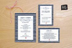 Nautical Wedding Invitation and RSVP Card, Beach Wedding Wishing Well card - digital file - preppy wedding, tie the knot, navy blue stripes