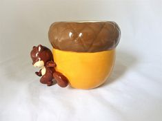 Vintage Squirrel Planter Holding a Huge Acorn, Nut, Cabin Decor, Collectible Planter Planter Table, Patio Table, Vintage Planters, Acorn, Squirrel, Hold On, Cottage, Products, Squirrels