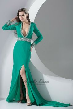 Court Train Chiffon Long Sleeves Split Front V-neck Beading Sequins/Paillettes Evening/Homecoming Dress - Special Occasion Dresses