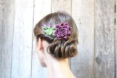 Hair comb polymer clay flowers.  rose with buds. by FloraAkkerman