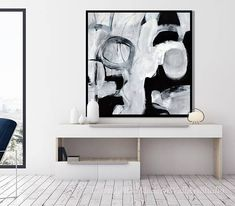 Original Extra Large Abstract Painting on Canvas, Large Black and White Minimal Art, Black, White, Grey, Square Wall Art Acrylic Painting  Please click MORE tab below to read full description.  READY TO SHIP, one of a kind original  SIZE: 48x48x1.5 Gallery stretched, wired and