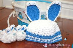 First Easter Bunny Baby Crochet Beanie and Matching Booties- Newborn to 12 Month Sizes on Etsy, $41.00