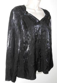 Black Blouse Shimmer Top M Medium Simonton Says  #SimontonSays #Tunic