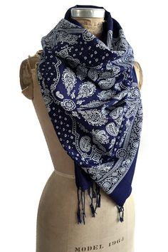 Bandana Print scarf. Paisley bandanna pashmina. by Cyberoptix