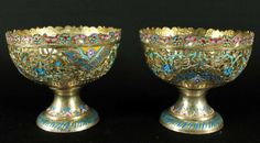 PAIR OF SILVER AND ENAMEL BOWLS FROM ESFAHAM : Lot 60M