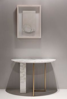 Minimal modern marble console table at Salone Del Mobile 2016
