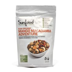 In Sunfood's Mango Macadamia Adventure they've been co-mingled with goji berries, cashews, mulberries, and cacao nibs for a wacky melange of deliciousness, totally raw and unbelievably good for you.