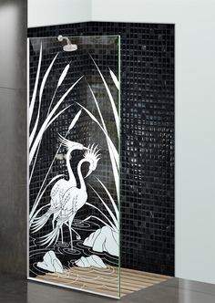 Shower Divider Panel featuring the Cranes & Cattails design in the 1D Positive Clear effect by Sans Soucie Art Glass. Design elements are sandblast etched on the top surface of smooth, clear glass, and are solid white shapes.  This effect is considered semi-private, as the clear glass background area of the glass, will vary by design.