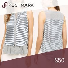 "Anthropologie Dual Striped Button Down Cotton, polyester Ruffled peplum hem Button front Machine wash Imported Style No. 4112346829991 Dimensions  Regular: 25.75""L Anthropologie Tops Tank Tops"
