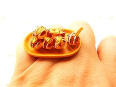 Kawaii Japanese Ring Takoyaki Octopus by SouZouCreations on Etsy, $10.00
