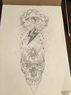 All Seeing Eye Tattoo, skull, bee, thunder, dotwork All Seeing Eye Tattoo, Tattos, Thunder, Piercings, Tattoo Designs, Weird, Bee, Skull, Sleeve