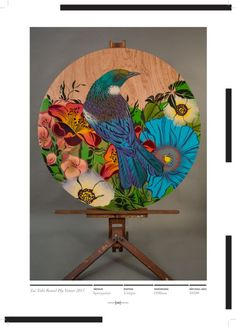 Table art by Flox New Zealand Art, Nz Art, Tropical Wallpaper, Maori Art, Kiwiana, Native Art, Bird Art, Beautiful Birds, Asian Art