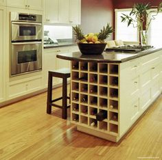The END of your kitchen island or breakfast bar are the two best places to install a wine rack in your kitchen.