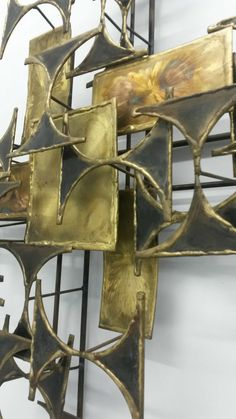 VINTAGE MID CENTURY MODERN ABSTRACT METAL WALL SCULPTURE ART JERE EAMES 60S 70S