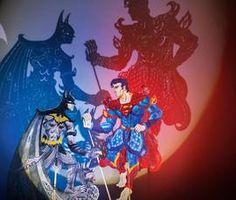 Indonesian Wayang Kulit shadow puppets inspired by Batman v Superman.