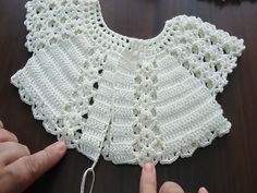 Crochet Vest Pattern Knit Crochet Crochet Patterns Crochet Baby Booties Baby Girl Crochet Crochet For Kids Baby Knitting Hand Embroidery Baby Dress IG ~ ~ crochet yoke for Irish lace, crochet, crochet p This post was discovered by Ел New model, new colo Crochet Baby Jacket, Crochet Vest Pattern, Baby Girl Crochet, Crochet Baby Clothes, Baby Knitting Patterns, Crochet For Kids, Hand Crochet, Crochet Stitches, Hand Knitting