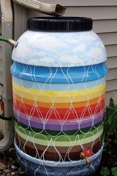 Rain Barrel Art Scavenger Hunt Painted Trash Cans, Water Flask, Garden Globes, Rain Barrels, Outdoor Art, Go Green, Public Art, Yard Landscaping, Yard Art