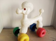 POODLE Pull Along Toy RETRO Toy 1960s Vintage by BigGirlSmallWorld