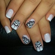 Uñas Nail Polish Designs, Nail Art Designs, Gorgeous Nails, Pretty Nails, Mandala Nails, Nagellack Trends, Lace Nails, French Tip Nails, Nail Decorations
