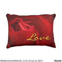 """Red Rose Love Outdoor Accent Pillow 16"""" x 12"""""""