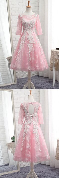 Lace Prom Dresses Pink,Modest Formal Dresses A-line, Scoop Neck Tulle Party Dresses Tea-length Pretty