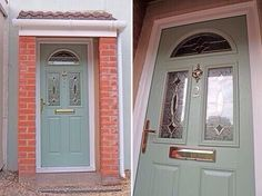 UPVC GREEN COLOUR COMPOSITE FRONT DOOR - MADE TO MEASURE - DIFFERENT DESIGNS