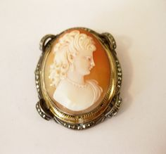 Victorian Cameo Silver Marcasite and Gold by Omistressvintage