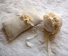 NEW-Off White Newborn 3 Pieces Set-Bonnet Hat Headband and