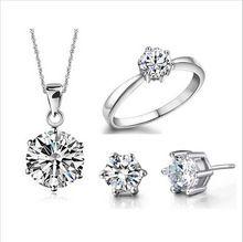 Boda joyería fina Real Pure 925 6 garra circón cúbico CZ collares pendientes del pendiente de los anillos de compromiso Set(China (Mainland))