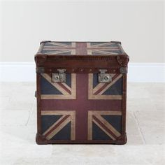 Distressed Union Jack Trunk. Useful For Storing Books And Magazines. Good Ideas